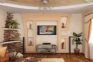 Идеи для ремонта гостиной: арки из гипсокартона, стеновые панели для отделки, красивый текстиль